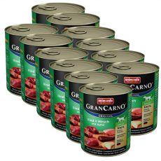 Conservă GranCarno Original Adult, cu vită și cerb cu măr - 12 x 800g