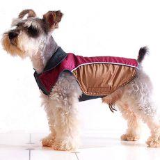 Încălzitor corp pentru câine – bordo auriu, fixare scai, M