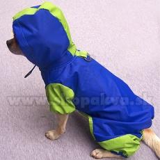 Pelerină de ploaie – combinezon cu glugă de culoare albastră și verde, S