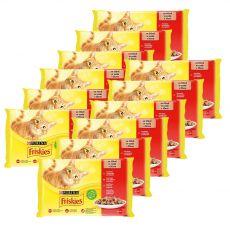 Friskies hrană pentru pisici la plic -  pui, vită, miel și rață în sos 12 x (4 x 85 g)