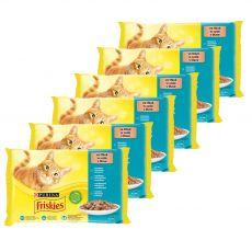 Friskies hrană pentru pisici la plic - somon, ton, sardine și peşte cod în sos 6 x (4 x 85 g)