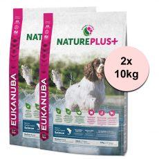 Eukanuba Nature Plus+ Adult Medium Bogat în somon proaspăt congelat 2 x 10 kg