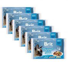 Pliculeț BRIT Premium Cat Delicate Fillets in Gravy Dinner Plate 6 x (4 x 85 g)