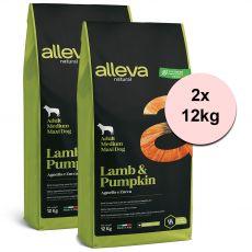 Alleva NATURAL dog lamb & pumpkin adult medium/maxi 2 x 12 kg