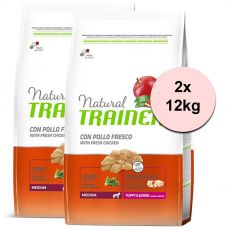 Trainer Natural Medium Puppy & Junior fresh chicken 2 x 12 kg