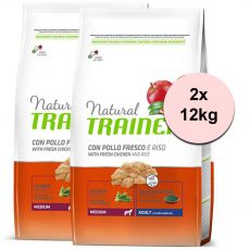 Trainer Natural Adult Medium, chicken and rice 2 x 12kg