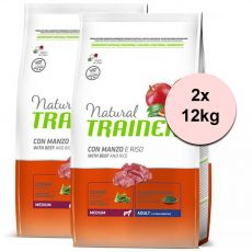 Trainer Natural Adult Medium, beef and rice 2 x 12kg