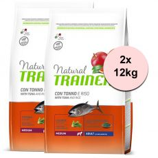 Trainer Natural Medium Adult peşte şi orez 2 x 12 kg