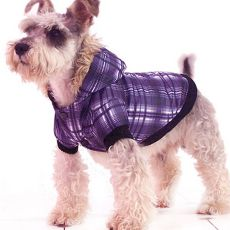 Jachetă în carouri câine – violet, XL