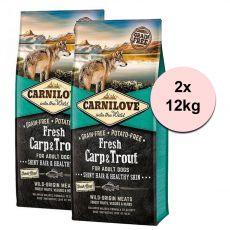 Brit CARNILOVE Carp proaspăt și păstrăv 2 x 12 kg