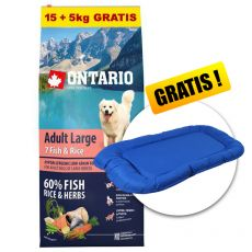 ONTARIO Adult Large 7 Fish & Rice 15+5kg GRATIS + CADOU