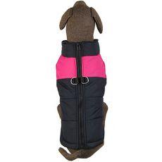 Haină pentru câini de talie mare, negru – roz, L-XS