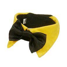 cravata cu nod pentru caini  - negru cu guler galben, S