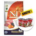 Farmina N&D GF PUMPKIN câine adult mini, miel& afine- 7kg + CADOU