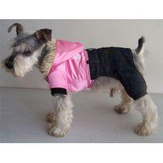 Jacheta caini cu denim - roz stralucitor, XL