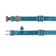 Zgardă pentru pisici, cu praf de luciu albastru 18 - 30 cm