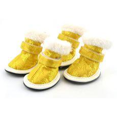 pantofi pentru caini, model brodat auriu - marimea 3