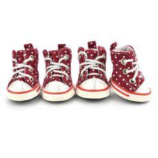 pantofi pentru caini , rosu aprins - marimea  4