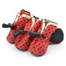 pantofi pentru caini , rosu , buline negre- marimea  4
