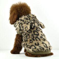 jacheta cu blana pentru caini - leopard cu gluga, L