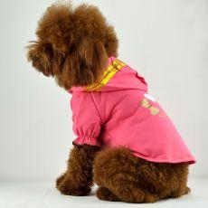 tricou caine - roz cu gluga si inscriptie, XXL