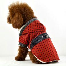 jacheta caine - rosie cu buline negre si imitatie de blana, XL