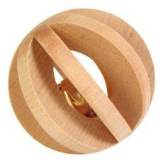 Jucărie pentru iepure - bilă confecţionată din lemn cu clopoţel, 6 cm