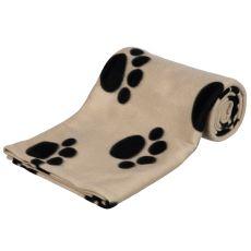 Pătură pentru câini și pisici - bej cu lăbuțe, 150 x 100 cm