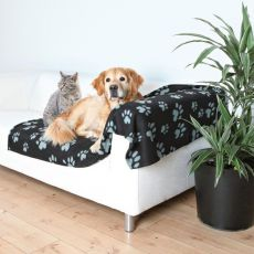 Pătură pentru câini sau pisici – cu lăbuțe de culoare gri, 150 x 100 cm
