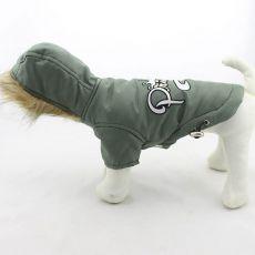 Jachetă pentru câine, cu glugă – verde-măsliniu, XXL