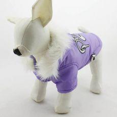Jachetă pentru câine, cu glugă – lila, XL