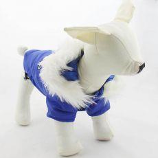 Jachetă pentru câine, cu glugă – bleu, XS