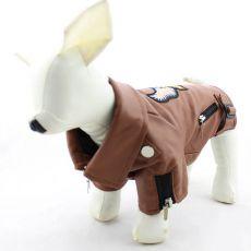 Jachetă pentru câine, imitație de piele – maro cu un vultur, M