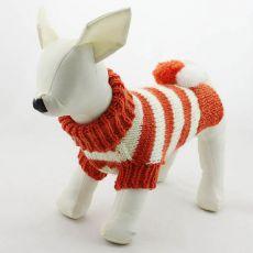 Pulover pentru câine – tricotat, portocaliu și alb, L