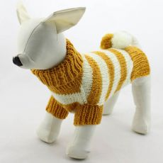 Pulover pentru câine – tricotat, galben și alb, L