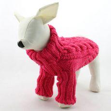 Pulover pentru câine – tricotat, roz închis, L
