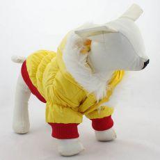 Jachetă pentru câine, cu glugă – roșu și galben, XXS