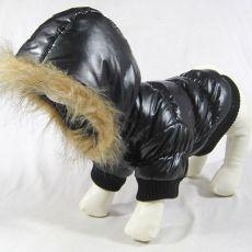 Jachetă pentru câine, cu glugă – negru, XS