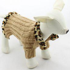 Pulover tricotat pentru câine – bej, leopard, L