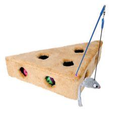 Jucărie pentru pisici - triunghi din pluș, cu șoarece