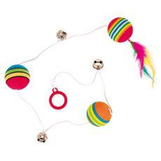 Jucărie pentru pisici - minge și clopoțel legate de o sfoară