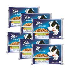 FELIX  hrană pentru pisici ambalată în pungă de aluminiu- pești cu legume în aspic, 6 x 400 g