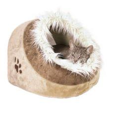 Culcuș pentru câini și pisici, în culoare bej realizat din material pluș - 41x30x50cm