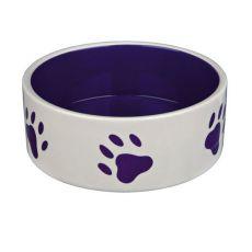 Castron de ceramică pentru câini - model de talpă lila, volum 0,8 l