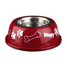 Castron câine cu suport de plastic, roşu- 0,25 L