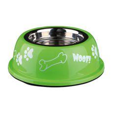 Castron câine cu suport din plastic, verde - 0,45 L