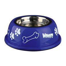 Castron câine cu suport de plastic, albastru - 0,9 L