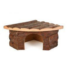 Casă colţ din lemn pentru rozătoare - 22x15x10,5cm