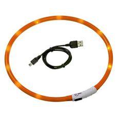 Zgardă pentru câini, cu LED, DOG FANTASY - portocaliu, 45 cm