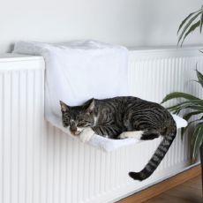 Pat pentru pisici atașabil de calorifer, pluș alb - 45x24x31